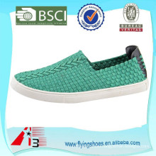 latest design men and women casual style flat rubber sole elastic upper woven shoes
