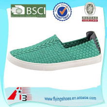 Последний дизайн мужчин и женщин случайный стиль плоской резиновой подошвой упругой верхней тканые ботинки