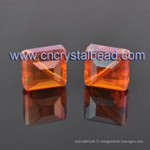 Mixte couleur cristal carré forme cuboïde verre perles pour bijoux fantaisie