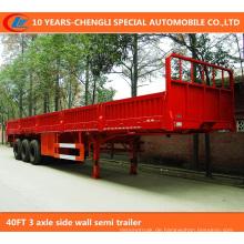 40FT 3 Achsen-Seitenwand-halb Anhänger