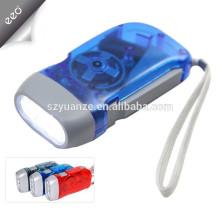 3 LED de presión manual de la linterna de dínamo recargable