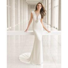 Deep V Neck Beads Neckline Hollow Back Mermaid Wedding Dress