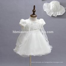 Elegante vestido de manga corta de flutter manga para niños pequeños con cappa Vestido de princesa bonita gasa vestidos de blanco hinchada para niñas