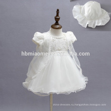 Элегантный короткий рукав Флаттер колена платье для малышей с каппа довольно Принцесса шифон платья белые пышные платья для девочек