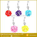 Blooming Resina Flor Dangle Cristal Umbigo Umbigo Anel Piercing Body Jewelry