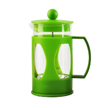 Plastik Pyrex-Glaskaffee-Cafetiere mit farbiger Wand