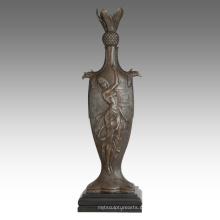 Vase Statue weibliche Birdscarving Dekoration Bronze Skulptur TPE-670