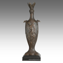 Vase Statue Femme Birdscarving Décoration Bronze Sculpture TPE-670