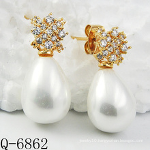 Latest Styles Pearl Earrings 925 Silver (Q-6862)