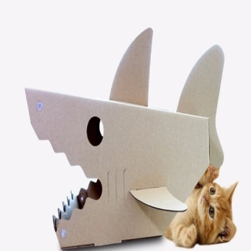Shark-shaped corrugated cat house