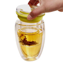 Copo de chá de vidro da parede dobro de vidro de Borosilicat com infusor