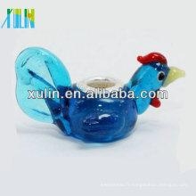 bleu transparent coq argent placage coeur perles de verre animal