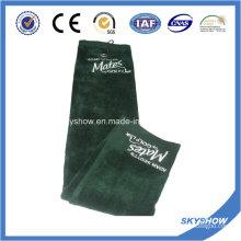 Toalla de golf de terciopelo 100% algodón con logotipo de bordado (SST1022)