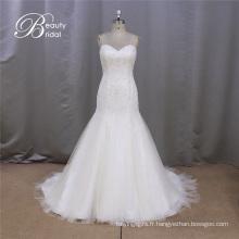 SL371 vente chaude bretelles perlé sirène robe de mariée de mariée 2016