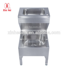 Commercial Stainless steel floor mount double bowls hand washing basin lavation bucket cleaner mop sink for hospital, school