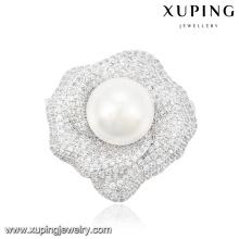 00036 Broche élégant de bijoux de perle de mode dans la couleur de rhodium