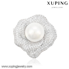 00036 Fashion Elegant Pearl Jewelry Brooch in Rhodium Color