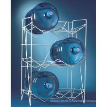 Покрынный порошок 3 этажа белого металла рекламы воды провода стеллажа для выставки товаров бутылки