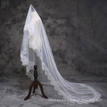 2017 Princesa magnífica catedral de boda velos de encaje largo