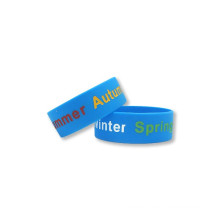 Hot Fashion Debossed Silicone Thumb Bands with Color Filled