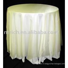 nappe élégante, couleur ivoire, superposition en organza, couverture de table en polyester