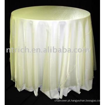 toalha de mesa elegante, cor marfim, organza overlay, capa de mesa de poliéster