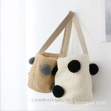 Women girl fashion straw paper weave shoulder tote bag