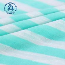 Stripe Knitted Spun Polyester Jersey Slub Fabric