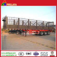 Remorque forte de camion de pieu de lit plat d'axes de 3 axes