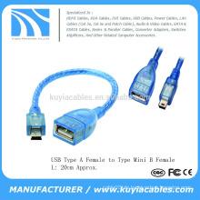 KuYia 15cm 20cm 30cm 50cm 75cm 1M geschirmtes USB 2.0 Kabel Usb-Frau zum USB-Mini-Mann 5 Pin-Adapter-Kabel