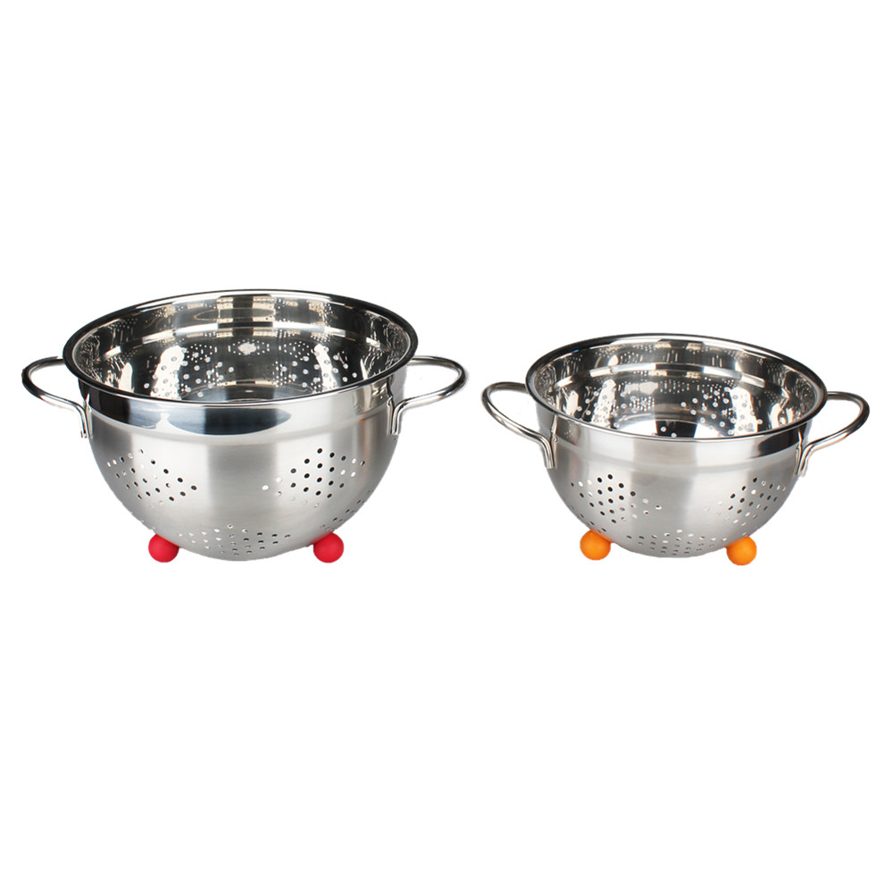 Silver Colander With Yellow Ball Stand