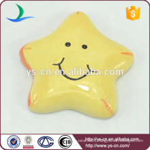 cute yellow pentagram ceramic hanging decoration with big smile