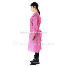 Nicht gewebte rosa blaue gelbe lila weiße PP SMS SPUNLACE Einweg-Isolationskleid