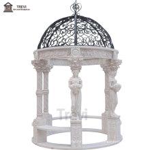 European Style Outdoor White Marble Pavilion Gazebo for Garden Decoration