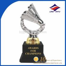 Diseño de encargo del trofeo del recuerdo de la fantasía del bádminton del metal