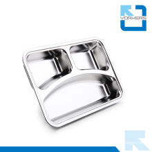 3 Compartments Rectangular Stainless Steel Fast Food Tray Snack Tray