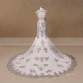 Gray and Ivory beaded sexy lace mermaid wedding dress 2017