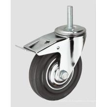 Roulette industrielle en fil de caoutchouc noir avec frein complet