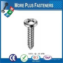 Fabriqué en Taiwan ISO 7049 Vis à taraudage Pan Head avec Cross Recess H Phillips