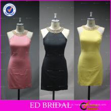 ED Bridal Imagem de amostra real Beaded Halter Sheath Short Bandage Dress