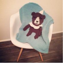 Handmade Knitting Baby Cartoon Blanket with bear