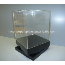 Retail Rotating Display Units, Custom Countertop Wood Base Tall Vintage Acrylic Rotating Display Case