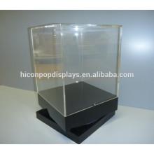 Unidades de exibição giratória de varejo, base de madeira de bancada personalizada Alta tela de exibição de acrílico giratório