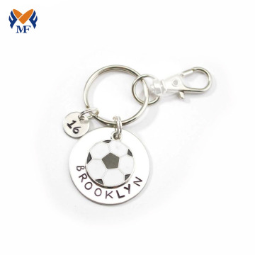 Llaveros personalizados de acero inoxidable grabado con cadena de bolas