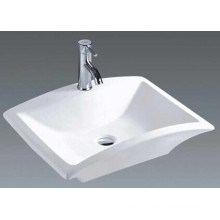 China Bathroom Ceramic Rectangular Countertop Basin (7096)