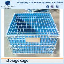 Pliez la palette en acier de boîte de cage de maille de stockage