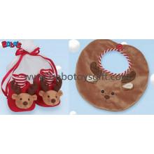 Plush Reindeer Baby Booties and Bib Gift Set Bows1111