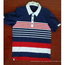 Baumwoll-Spandex-Garn gefärbte Kurzarm-Poloshirts