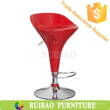 Fashional Confortável Commercial Red ABS Plastic Bar Stools With Footrest