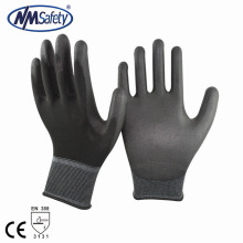 NMSAFETY 13 Gauge Black Polyester Knit Coated PU Palm Working Glove